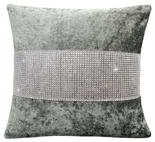 LUXURY CRUSHED VELVET DIAMANTE FILLED CUSHION SILVER COLOUR